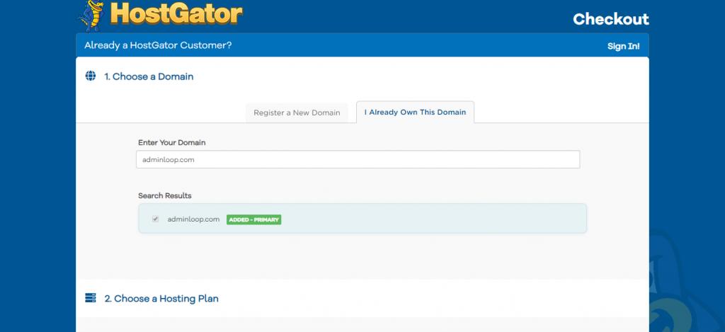 HostGator Checkout - Pick a Domain