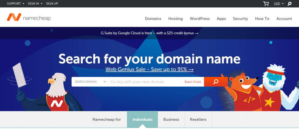 Namecheap Website